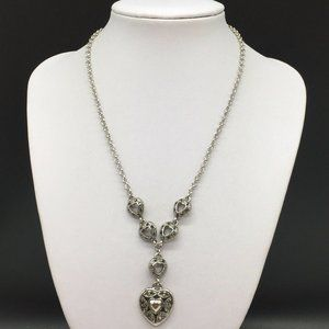 NEW Cookie Lee Gray Crystal Heart Pendant Necklace